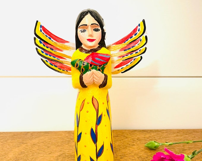 Medium Wood Angel - Yellow and dove. Handmade and Hand-painted in Venezuela. Spectacular details. Aprox 7'