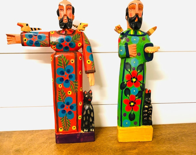 Collaboration Fair Trade Group from Saint Francis of Assisi grande Wooden Hand Carved Handmade and painted by Guatemalan Artist. Aprox 14""