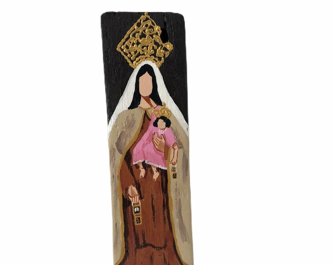 """Our Lady of Carmel - Virgen del Carmen hand painted  by Venezuelan artist.  From the Ocean to the Artist. 13"""" x 3.5"""""""