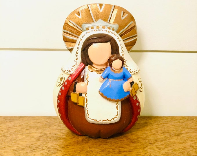 Virgen del Carmen -  Mary Our Lady of Mount Carmel .Handmade and paint by Venezuelan artist. Merida State. Wood Carving.