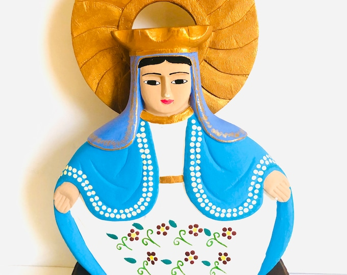 Handmade Figure of  Virgen Milagrosa - The Blessed Virgin Mary  the Medal of the Immaculate Conception handmade in Venezuela