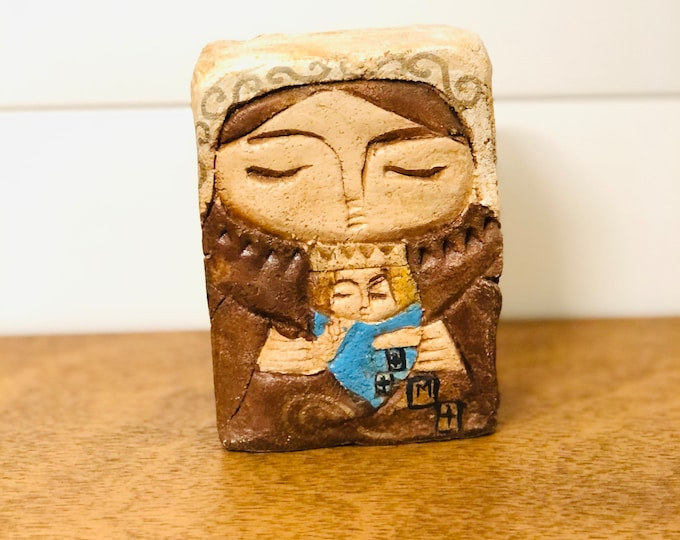 Virgen del Carmen - Our Lady of Carmel  Stone conglomerate Handmade and painted by Venezuelan Artist. 5.5  x  4 inches