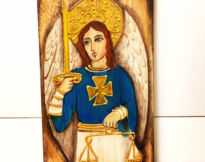 Saint Michael Archangel. Retablo Handmade Wood painted by Venezuelan Artist.