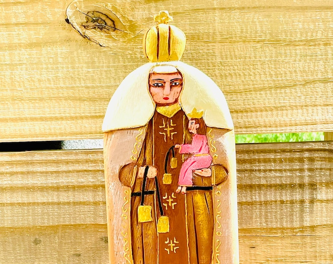 Our Lady of Carmel - Virgen del Carmen .Handmade and paint by Venezuelan artist. 9 Inches aprox