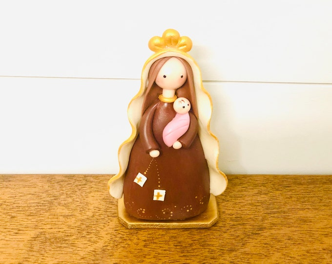 Virgen del Carmen - Our Lady of Carmel  Handmade, Small Size and paint by Venezuelan artist. 5.5  inches aprox