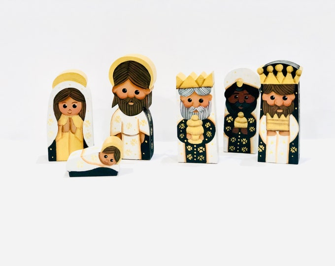 "Small wood ""White"" Nativity 6 Pieces Set. Handmade and   Hand painted by  Venezuelan Artist. 5"" x 2.5"" inches"