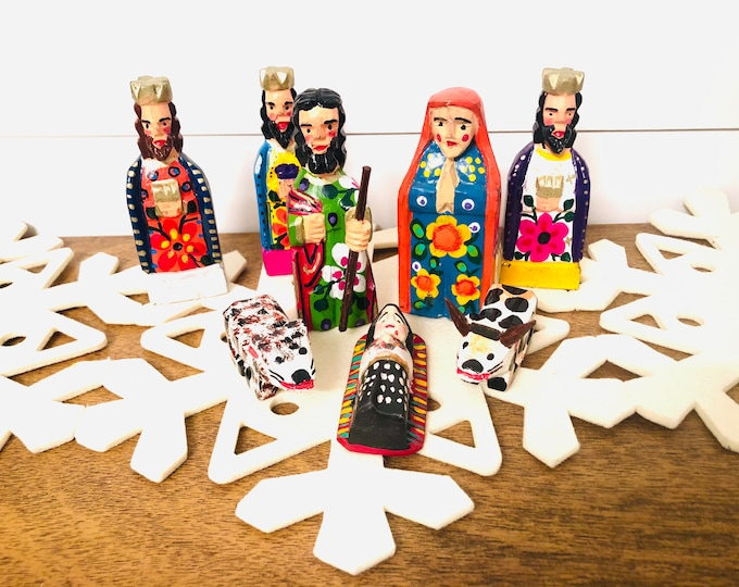Colorful Handmade and hand painted in Guatemala . Wood Nativity 8 Pieces Set. Collaboration Fair Trade Group from Guatemala.