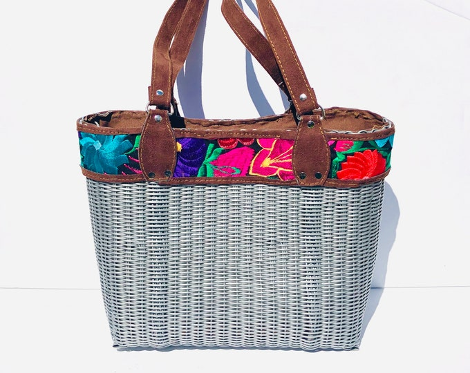 Grey HUIPIL Embroidered Tote bag, woven plastic  Huipil, Faux leather. Handmade in Guatemala