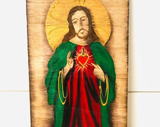 Retablo Sacred Heart of Jesus . Wood painted. Handmade in Venezuela.