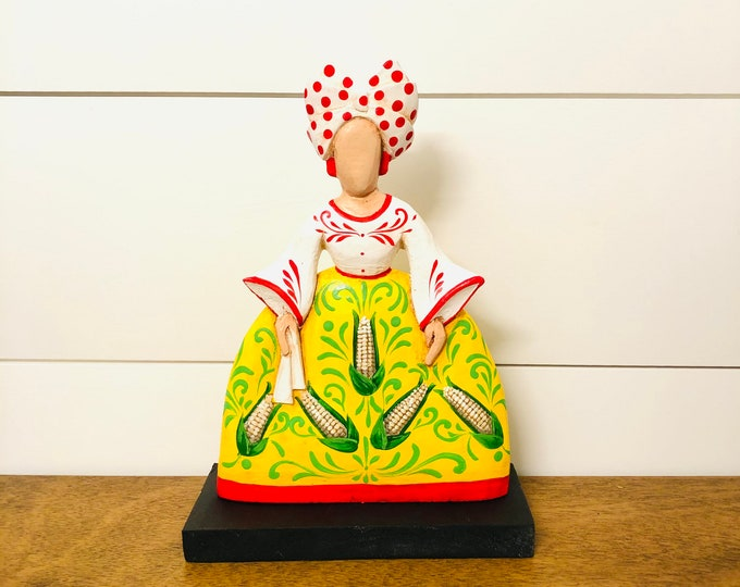 Menina Miss. Harina Pan Statue  Yellow.  Handmade in Merida State,  Venezuela 8 inches