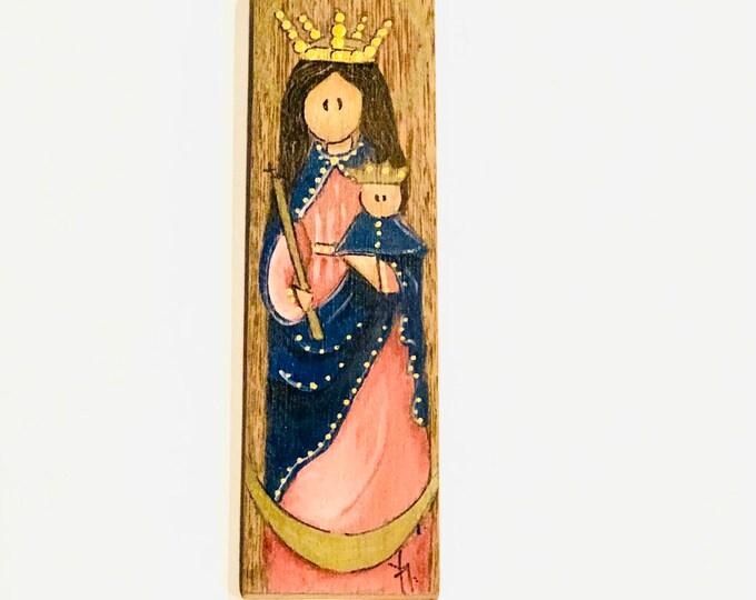 Mini  Retablo  Virgen de la Chiquinquira - Chiquinquira   Virgin Mary .   Hand painted in Venezuela.
