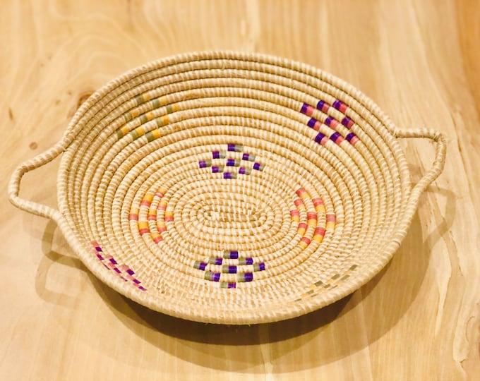 New Desing- Warao Indian Baskets Yellow Blue  (Delta del Orinoco, Venezuela) Aprox 11 Inches