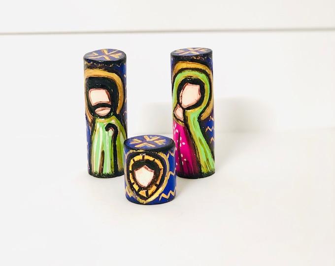 Mini Nativity Unique pieces. Hand made Merida State Venezuela. Nativity 3 Pieces Set Wooden Hand Carved