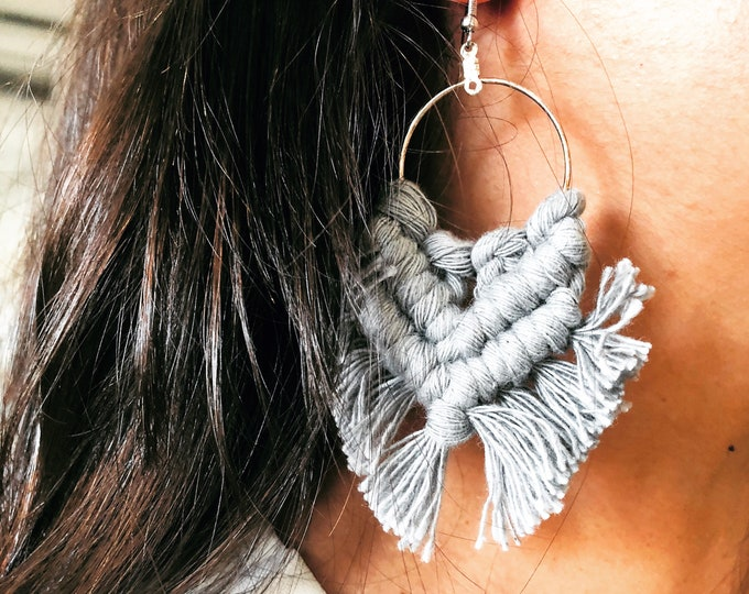 MACRAME Boho Statement Earrings. Handmade in Mexico. Cotton/Stainless Steel.