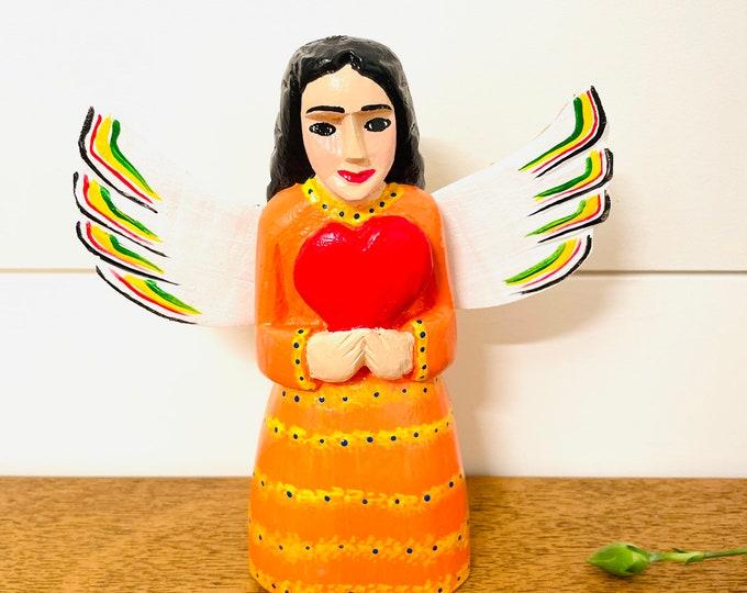 Medium Wood Angel - Orange & Hearts  . Handmade and Hand-painted in Venezuela. Spectacular details. Aprox 7'