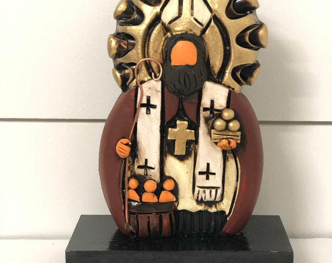 St. Nicholas of Bari. Handmade and hand  painted by Venezuelan artist. 5 Inches SMALL Size