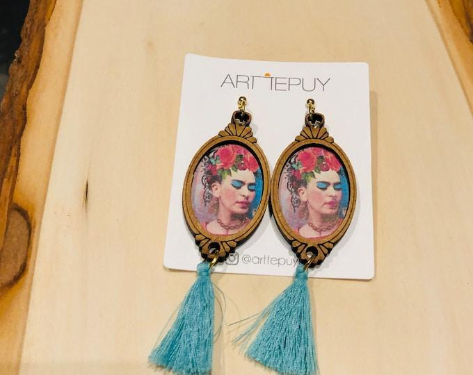 Frida Kahlo  Turquesa  Statement Earrings. Handmade in Mexico.