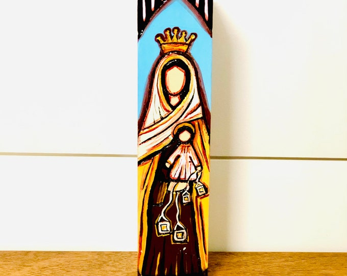 Our Lady of Mt Carmel - Virgen del Carmen. Handmade and paint by Venezuelan artist. Wood .Height 8'