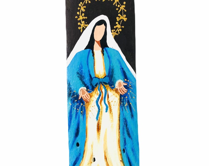 Virgen Milagrosa - Miraculous  Virgin Mary hand painted  by Venezuelan artist. Item #9 From the Ocean to the Artist. 15.5' x 5'