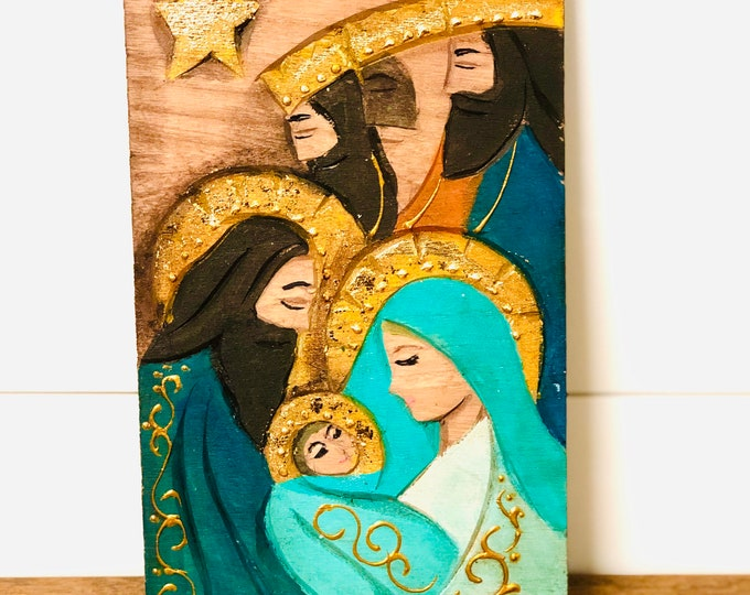 Holy Family . Retablo Handmade Wood painted by Venezuelan Artist. (Green and Gold)