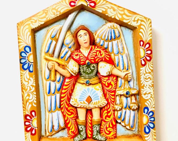 Saint Michael Archangel  Grande Nicho Wooden Hand Carved Handmade and paint by Venezuelan artist.