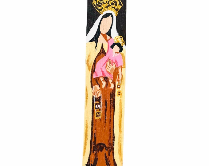 Our Lady of Carmel - Virgen del Carmen hand painted  by Venezuelan artist. Item #4. From the Ocean to the Artist. 13' x 3'