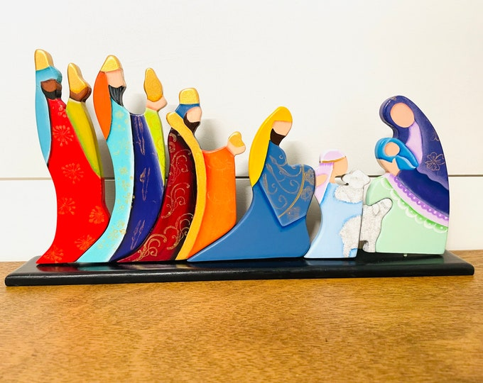 Modern Starry Night Nativity  by MM artist. Handmade in Venezuela.Wood pieces . 8 x 11 inches aprox