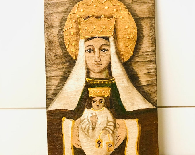 Retablo  Virgen del Carmen - Our Lady of Carmel. Retablo  Handmade Wood painted by Venezuelan Artist.