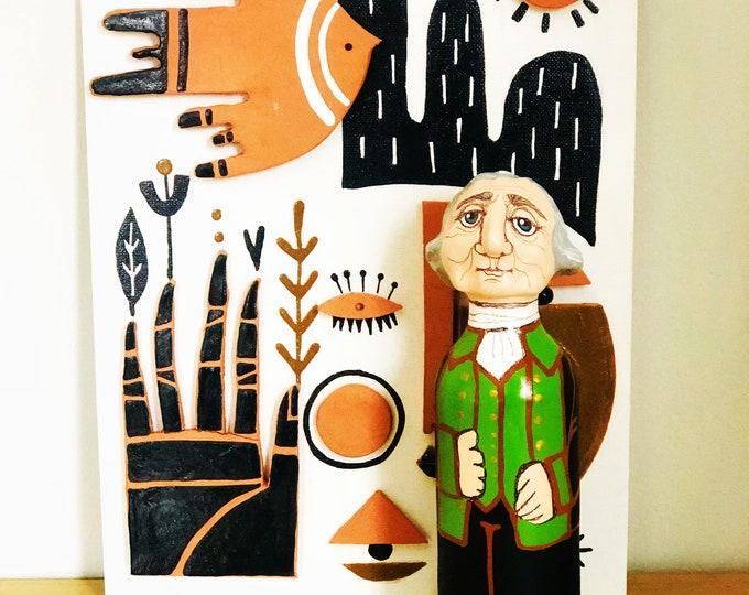 George Washington Papier-mâché famous people figurines   handmade by a Venezuelan artist . 8  inches aprox