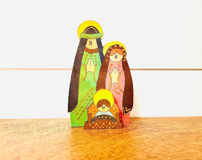 Medium Handmade -  Wood Nativity Scene, Baby Jesus, Mary, Joseph.