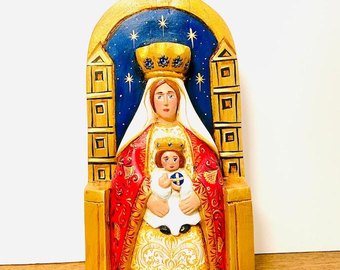 Unique Virgen  DE COROMOTO-Our Lady of Coromoto Wood Art Handmade and painted by Venezuelan Los Andes artist.