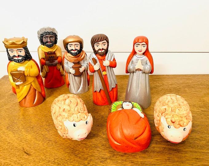 Andino Orange   Nativity. Arte Popular from Venezuela Original Handmade - Colored Wood 8  pieces