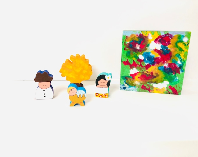 Nativity in a BOX. Beautiful Criollo  Nativity with colorful wood box handmade by Venezuelan artist. 4 pieces + box