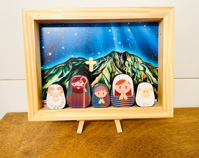 Nativity in a BOX #11 Grande   .Beautiful  Nativity  Scene with colorful wood box handmade by Venezuelan artist. 5 pieces + box + Stand