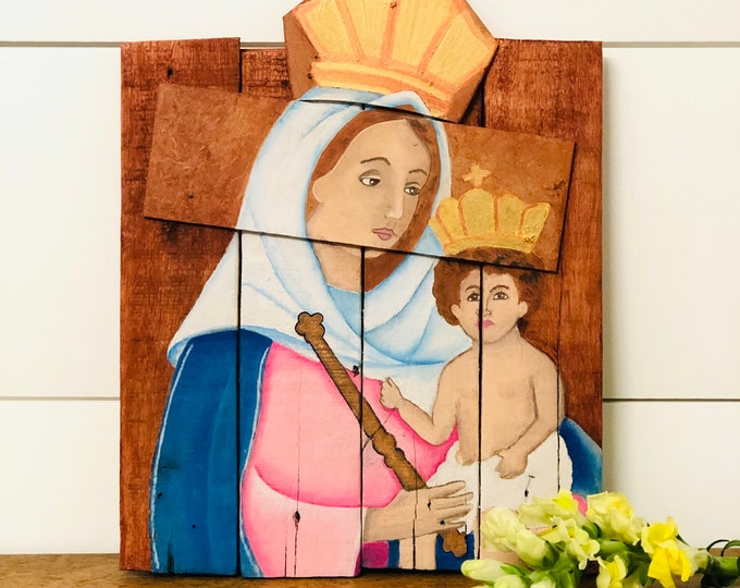 Our Lady of the Rosary of Chiquinquirá or the Virgin of Chiquinquirá. Hand painted by Venezuelan artist. Reclaimed Wood.