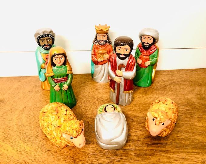 Andino Green Nativity. Arte Popular from Venezuela Original Handmade - Colored Wood 8  pieces