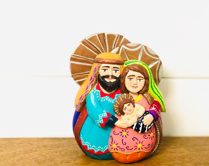 The Holy Family in one Piece. Wood figure Handmade and painted by Venezuelan Los Andes artist. 7  inches