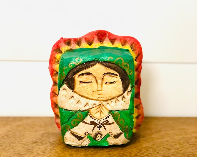 Our Lady of Guadalupe . Stone conglomerate Handmade and painted by Venezuelan Artist. 5.5  x  4 inches