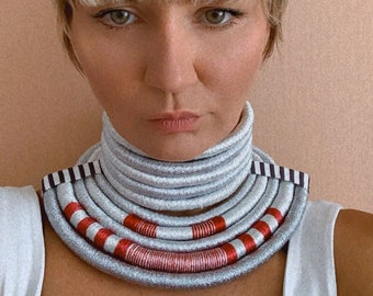 African Multistrand Choker - Silver Rope Weave Statement Chunky Woven Necklace- Costume Party Jewelry Accessories for Women and Girls