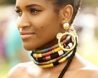 Reine Choker Tribal Necklace Tribal Statement Necklace Rope Choker African Necklace Aztec Necklace Tribal Necklace for Her African Jewelry