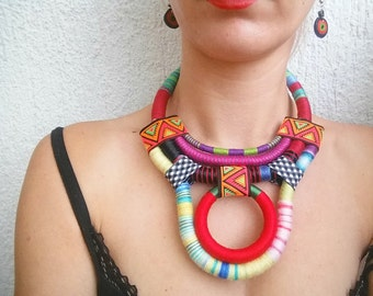 Statement necklace, Boho necklace, Rope necklace, Ethnic necklace, African necklace, Tribal necklace, handmade jewelry, gift for her