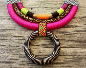 Boho necklace, bohemian necklace, boho rainbow necklace, boho african necklaces, bohemian jewelry, boho jewelry, eye catch necklace, tribal