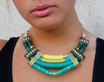 Turquoise necklace, African colorful bib necklace, African Style Fabric Bib Necklace, Statement necklace