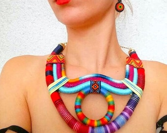Tribal Necklace - Multicolored African Jewelry - African Jewelries - African Necklace