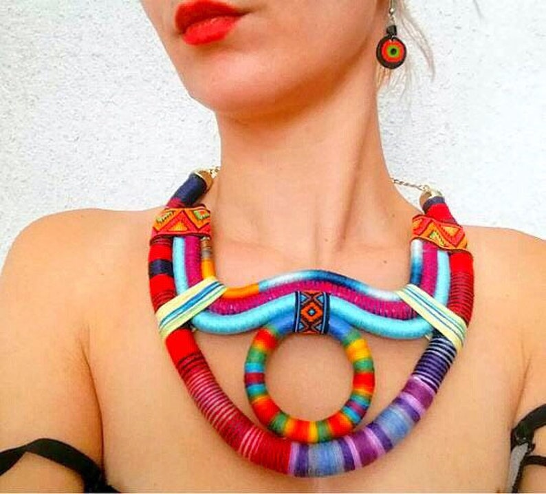 Tribal Necklace  Multicolored African Jewelry  African image 1