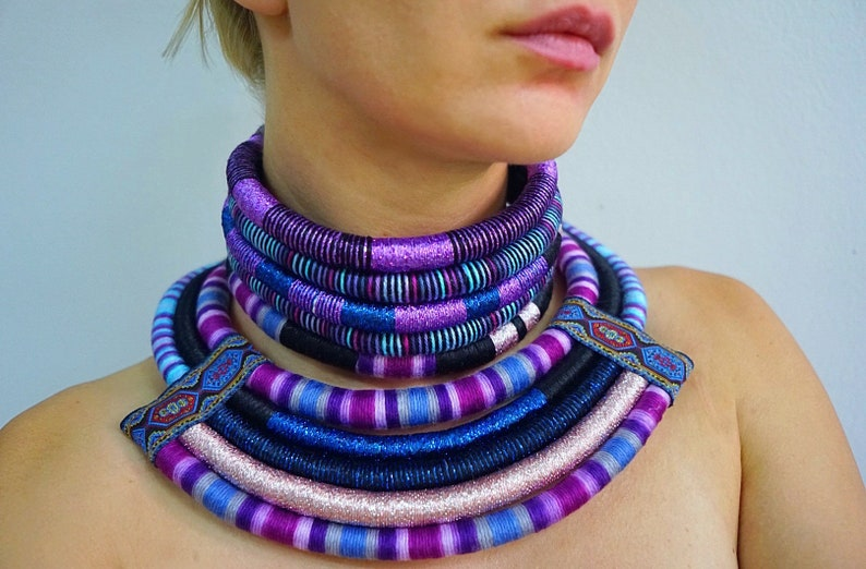 African Necklaces Ethnic Necklace 2in1 Tribal Necklace Statement Necklace African Jewelry for women African Necklaces Afro Choker