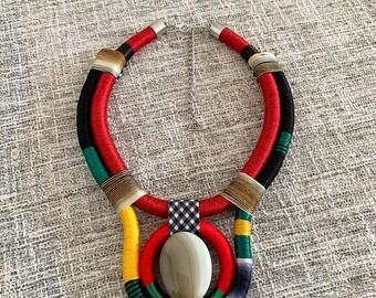 Ethnic Necklace Thread Necklace Glass Beads Elf Necklace Conceptual Necklace African Necklace African Jewelry Art Jewelry