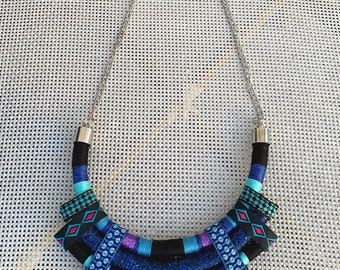 Blue necklace, African colorful bib necklace, African Fabric Bib Necklace, Statement necklace, Boho Necklace