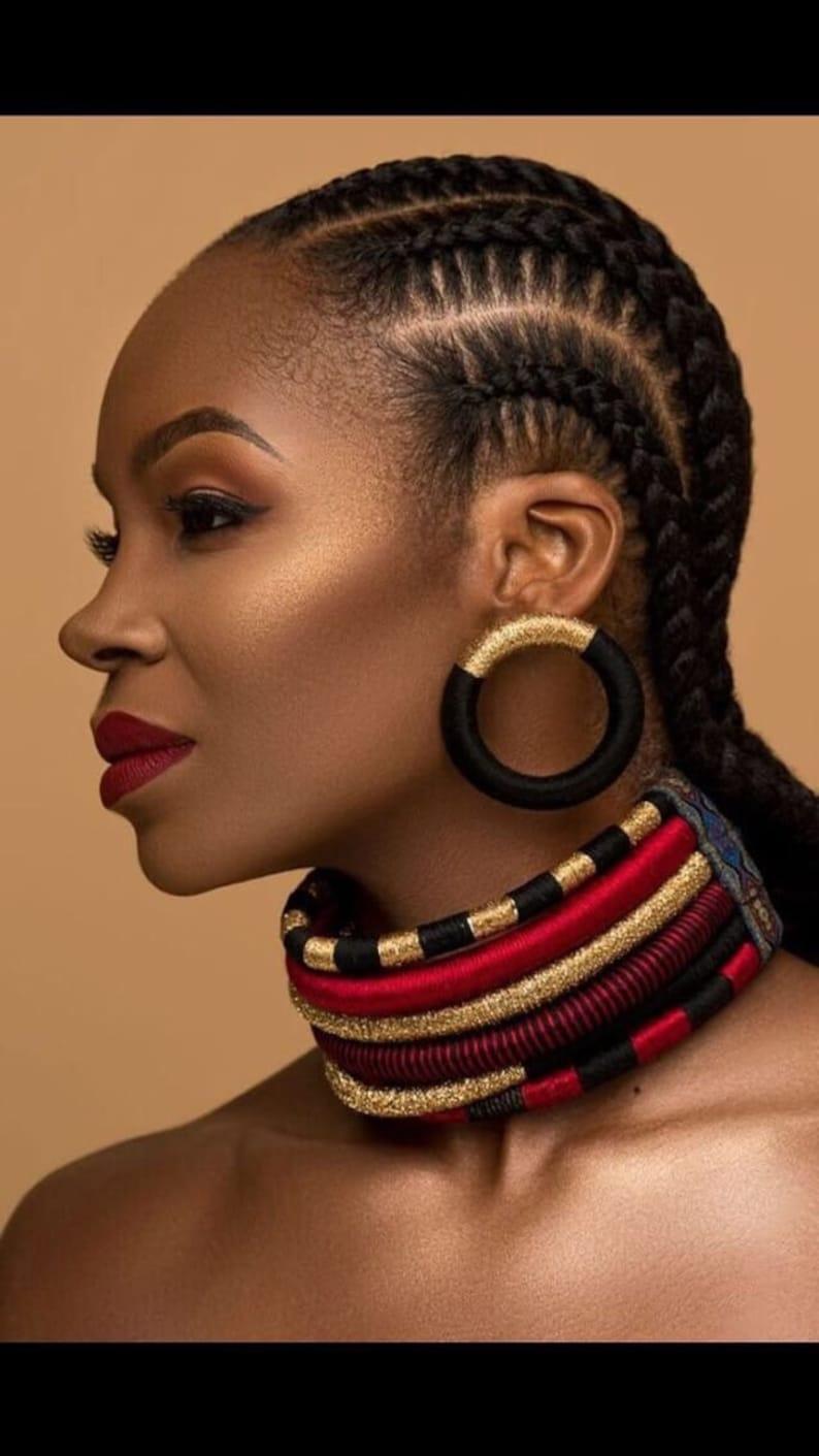Statement Earrings, African Earrings, Tribal earrings, Large Earrings,  Black Earrings, Gold Earrings, Thread Wrapped Jewelry African Jewelry