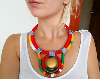 SUN Ethnic necklace Rope Necklace Thread Necklace Glass Beads Elf Necklace Conceptual Necklace African Necklace African Jewelry Art Jewelry
